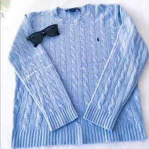 Women's Blue Polo Sport Knit Sweater! M 15